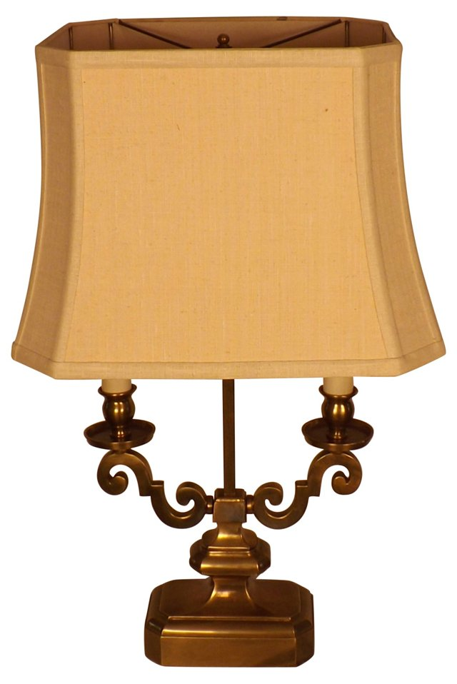 Double-Armed Brass Lamp