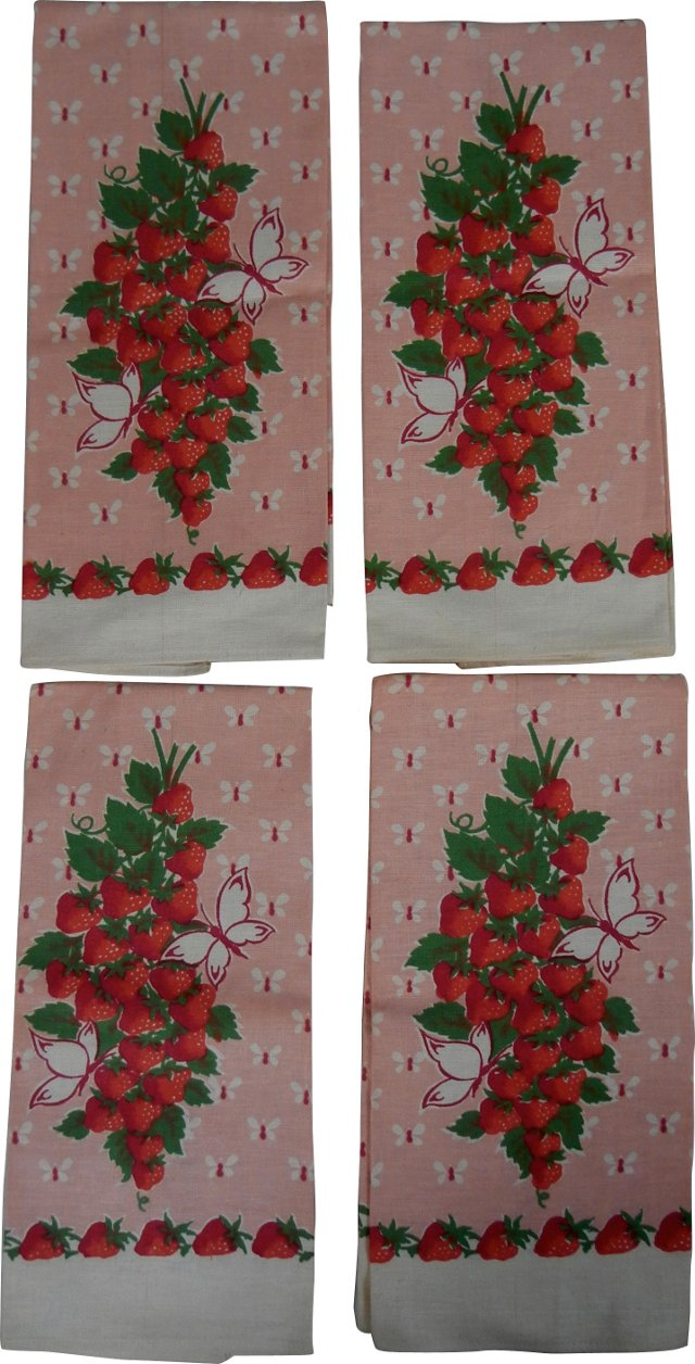 Linen Strawberry Towels, S/4