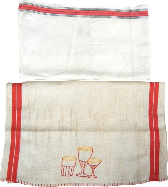 Linen Tea Towels w/ Red Accents, Pair