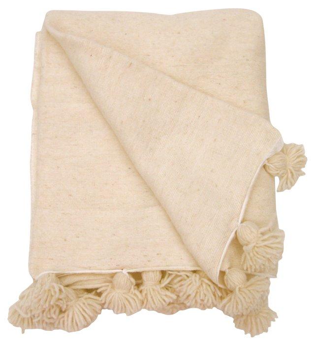Ivory Moroccan Pom Pom Blanket