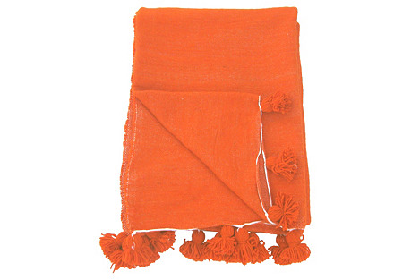 Orange Wool Pom Pom Blanket