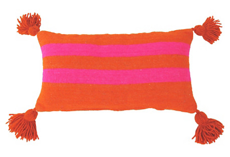Orange & Hot Pink Moroccan Wool Pillow