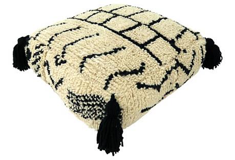 Moroccan Geometric Wool Pouf