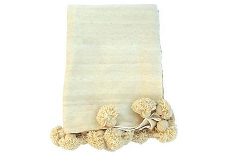 Ivory Wool Moroccan Pom Pom Blanket
