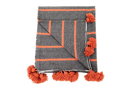 Charcoal Striped Moroccan Blanket
