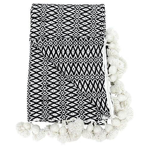 Woven Moroccan Pom-Pom Blanket