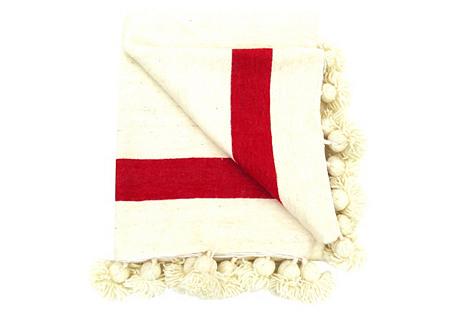 Red Stripe Wool Pom-Pom Blanket