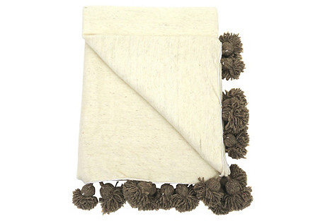 Ivory & Natural Wool Pom-Pom Blanket