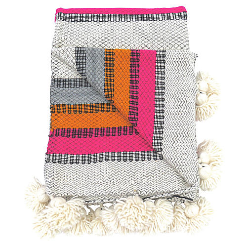Woven Pink & Orange Wool Pom Blanket
