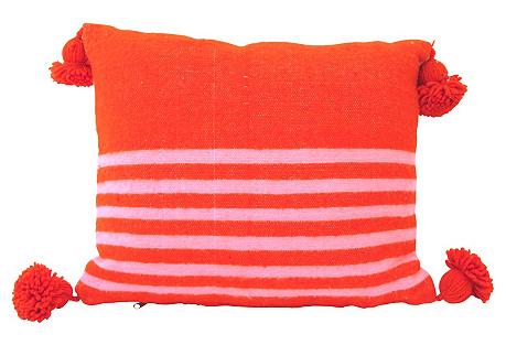 Pink & Orange Wool Moroccan Pillow