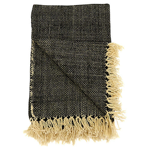 Moroccan Wool Fringed Blanket