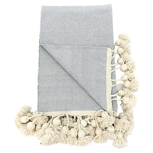 Grey and Natural Moroccan Pom Blanket
