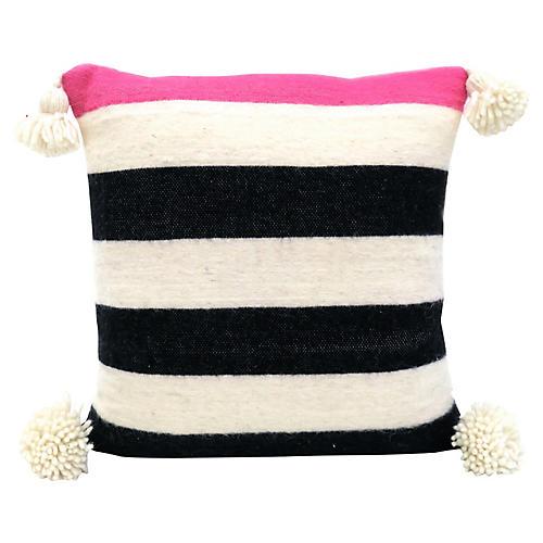 Moroccan Stripe Wool Pom Pillow