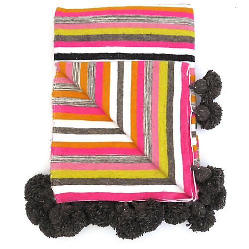Striped Wool Moroccan Pom Pom Blanket
