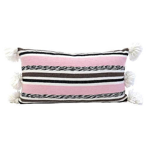 Moroccan Striped Pom Pillow