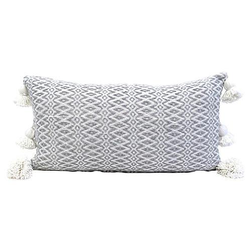 Moroccan Grey & White Woven Pillow