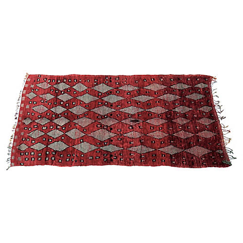 Oxblood and Grey Moroccan Talsent Rug