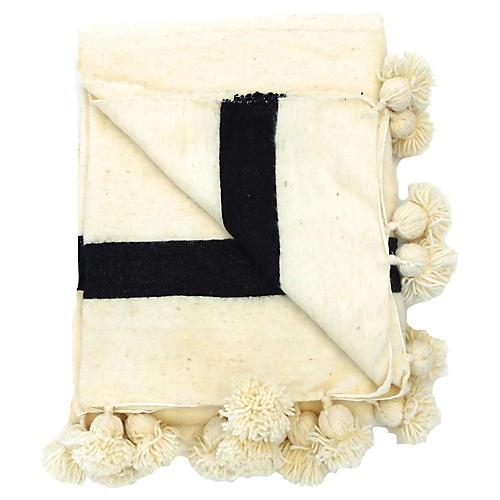 Moroccan Ivory & Black Pom-Pom Blanket