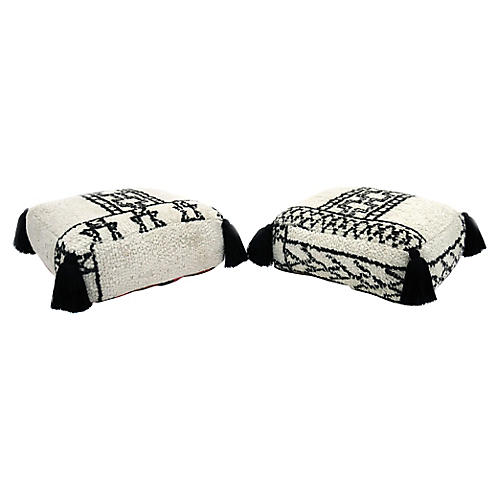 Pair of Vintage Moroccan Poufs
