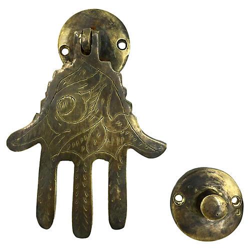 Etched Brass Fatima Door Knocker