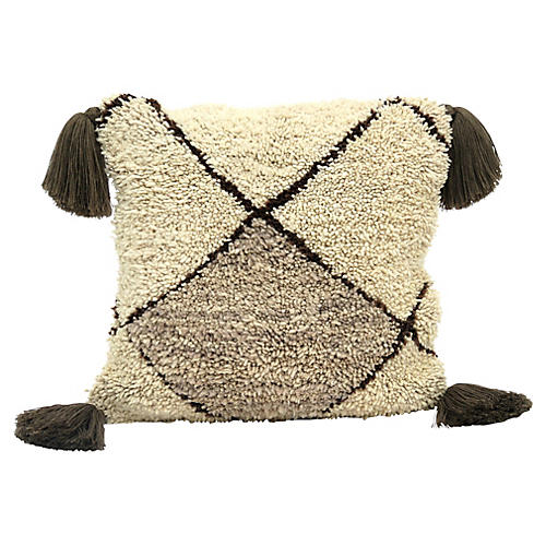 Ivory & Tan Wool Berber Pillow