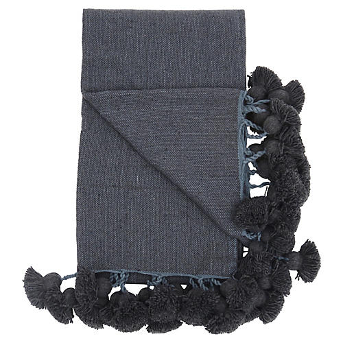 Charcoal Cotton Braided Pom Pom Blanket