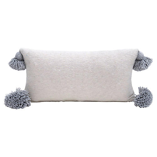 Ecru Cotton Pom Pom Pillow