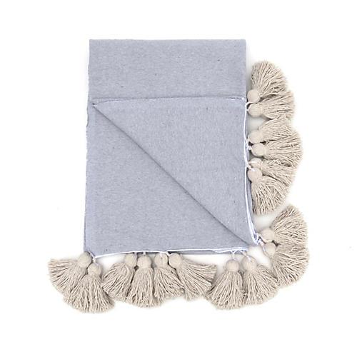 King Size Grey Cotton Tassel Blanket