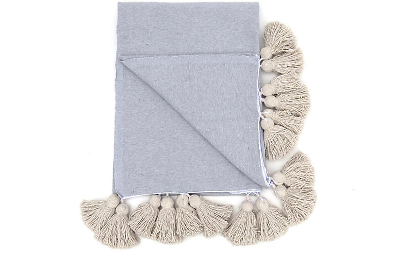 Gray Cotton Tassel Blanket, King