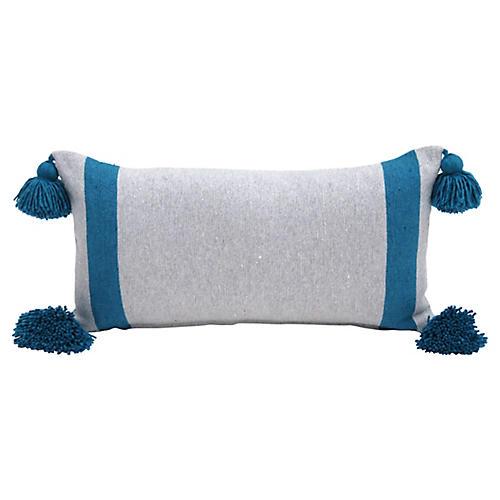 Gray & Turquoise Pom Pom Pillow