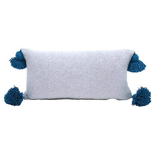 Heather Gray and Turquoise Pom Pillow