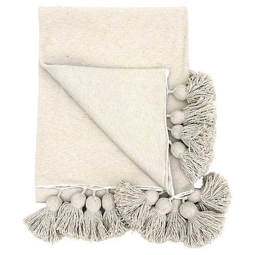 Ecru Cotton Tassel Blanket