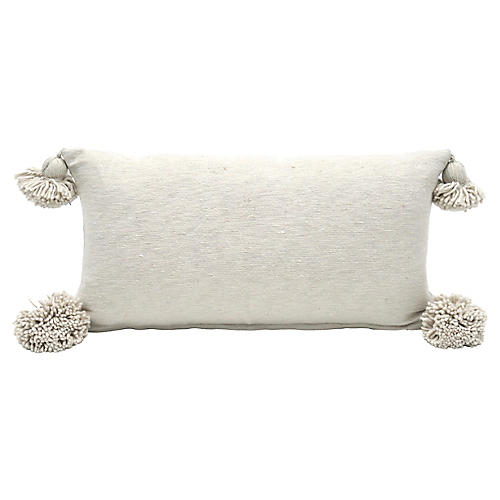 Ecru Cotton Pom Pom Pillow