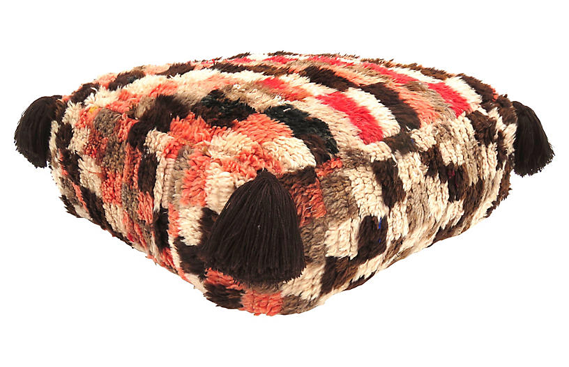 Checkered Berber Pouf
