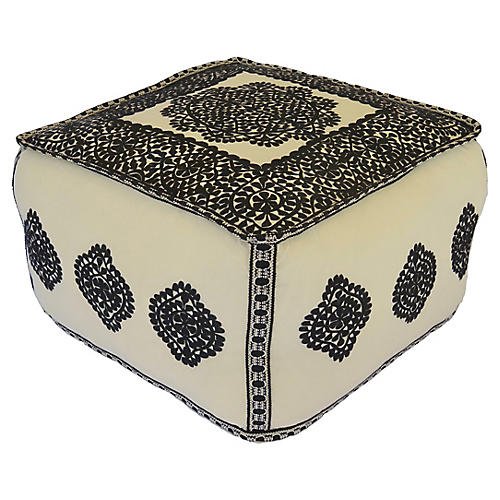Moroccan Embroidered Cotton Pouf