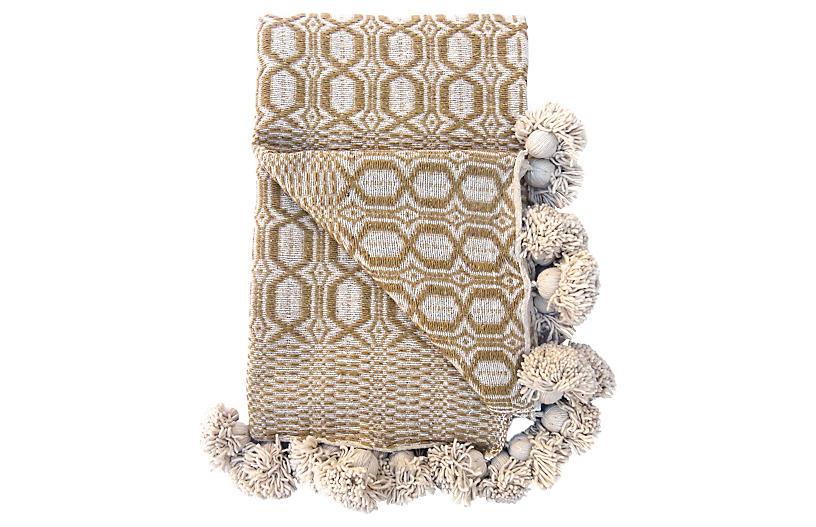 Moroccan Cotton Pom-Pom Blanket