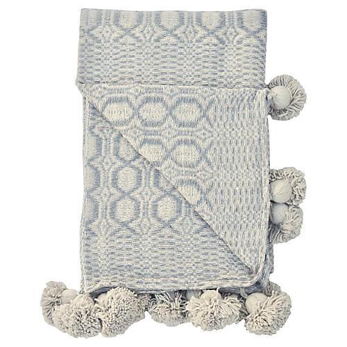 Handwoven Gray & Ivory Blanket