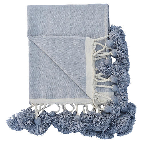 Gray-Blue Cotton Braided Pom Blanket
