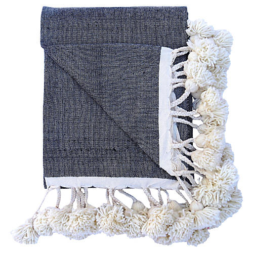 Handwoven Cotton Braided Pom Coverlet