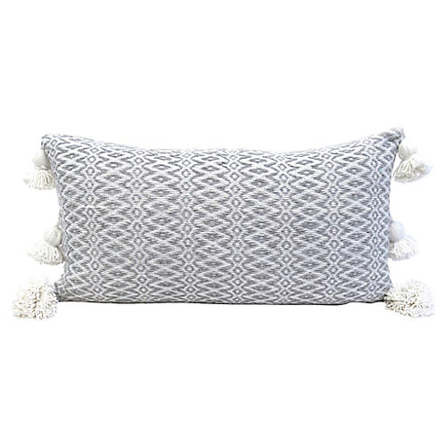 Gray Handwoven Cotton Lumbar Pillow