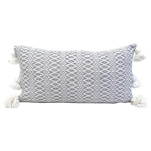 Gray Handwoven Cotton Lumbar Pillow