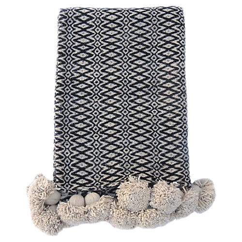 Ecru & Black Woven Blanket