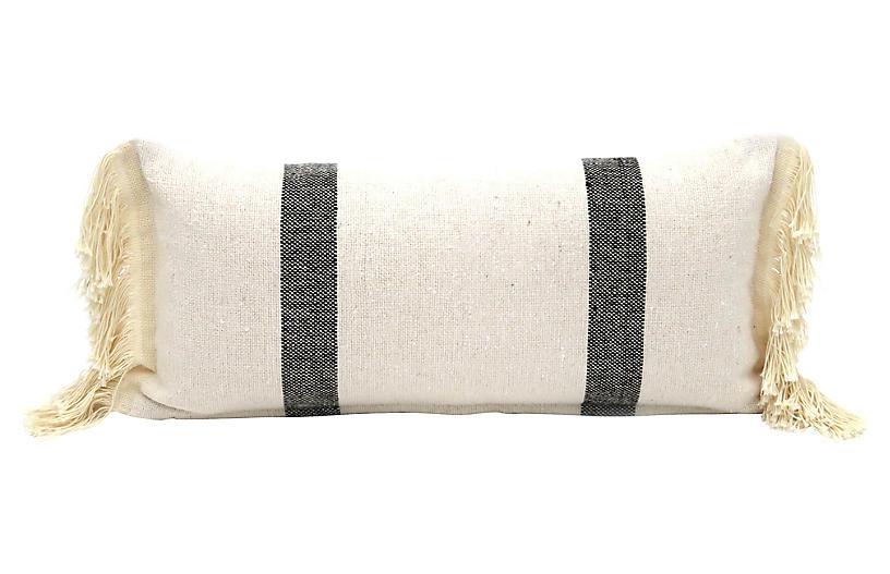 Ecru Fringed Cotton Pillow