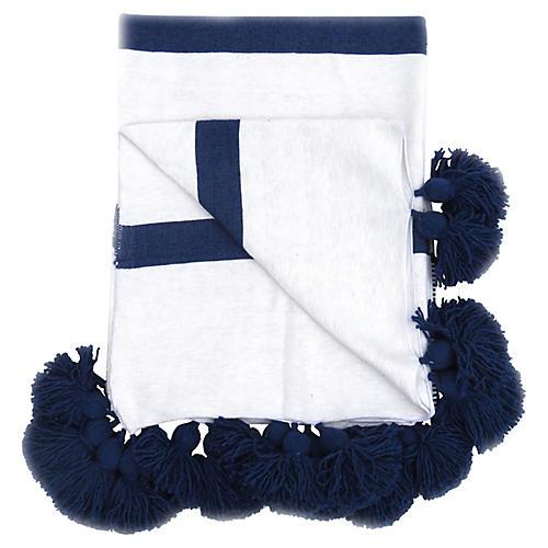 Blue & White Cotton Pom-Pom Coverlet