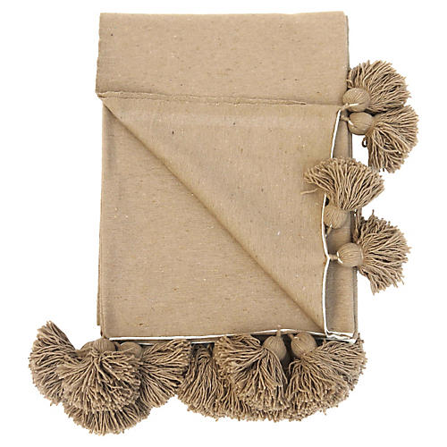Camel Organic Cotton Pom Coverlet
