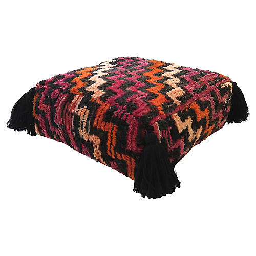 Magenta & Black Wool Pouf