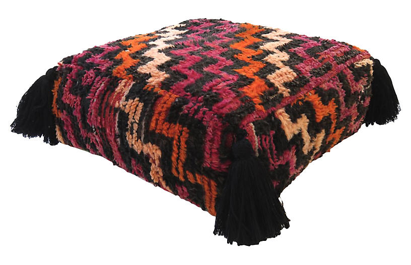 Magenta & Black Wool Pouf