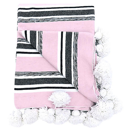 Moroccan Pink Striped Blanket