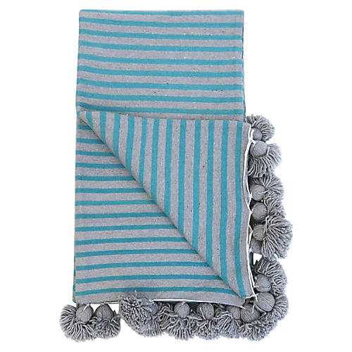 Gray & Turquoise Pom Blanket