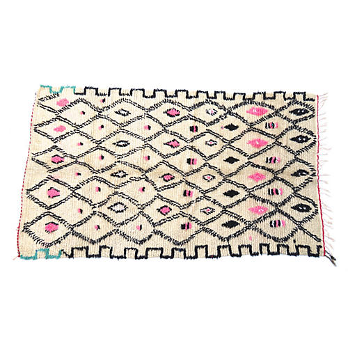 Azilal Berber Moroccan Rug, 4'4 x 7'5